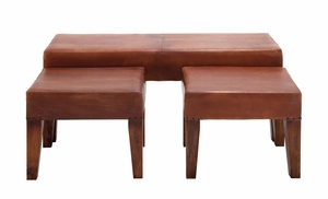The Heartthrob Set of 3 Wood Leather Bench by Woodland Import