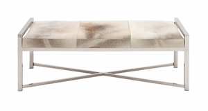 The Heartthrob Stainless Steel Grey Leather Bench by Woodland Import