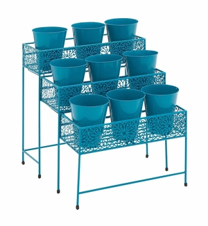 The Heavenly Metal 3 Tier Plant Stand Blue by Woodland Import