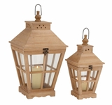 The Heavenly Set Of 2 Wood Glass Lantern by Woodland Import