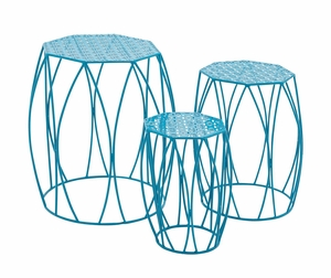 The Heavenly Set of 3 Metal Blue Plant Stand by Woodland Import