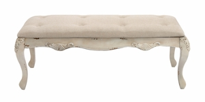 The Heavenly Wood Fabric Bench by Woodland Import