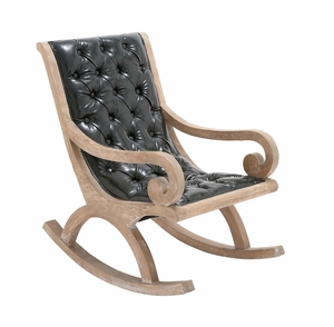 The Heavenly Wood Leather Rocker by Woodland Import