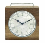 The Himalayan Wood Metal Sq Clock by Woodland Import