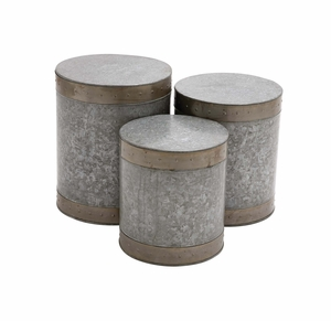 The Impressive Set of 3 Metal Galvanized Stool by Woodland Import