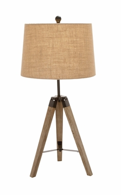 The Independent Wood Metal Tripod Table Lamp by Woodland Import