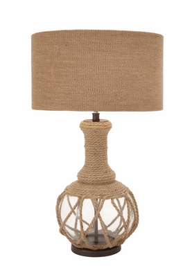 The Ingenious Glass Jute Rope Table Lamp by Woodland Import