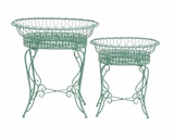 The Intricate Set of 2 Metal Plant Stand by Woodland Import