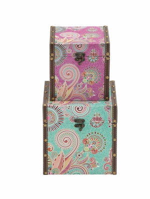 The Jolly Set of 2 Wood Vinyl Box by Woodland Import