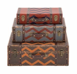 The Lovely Set of 3 Wood Faux Leather Case by Woodland Import