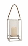 The Lovely Stainless Steel Glass Lantern by Woodland Import