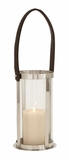 The Lovely Stainless Steel Glass Leather Lantern by Woodland Import