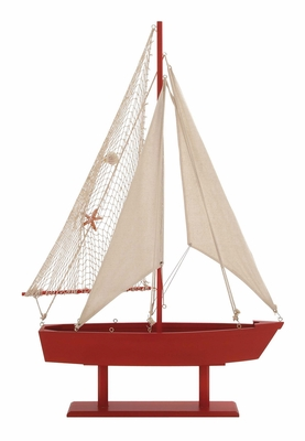 The Lovely Wood Canvas Sail Boat by Woodland Import