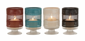 The Mesmerizing Metal Glass Candle Holder 4 Assorted by Woodland Import
