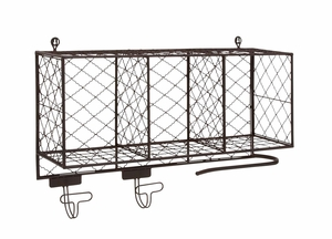 The Multipurpose Metal Shelf with Hooks by Woodland Import