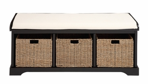 The Multipurpose Wood 3 Basket Bench by Woodland Import