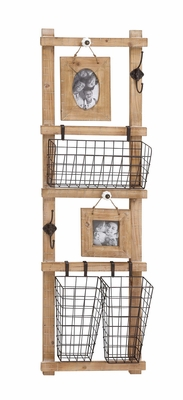 The Multipurpose Wood Metal Wall Strong Rack - 97243 by Benzara
