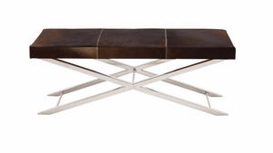 The Must Have Stainless Steel Brown Leather Bench by Woodland Import