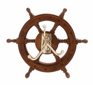 The Must Have Wood Brass Ship Wheel Hook by Woodland Import