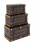 The Nostalgic Set of 3 Wood Faux Leather Trunk by Woodland Import