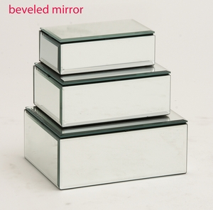 The Prized Set of 3 Wood Mirror Jewelry Box by Woodland Import