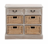 The Rural Wood 4 Basket Chest by Woodland Import