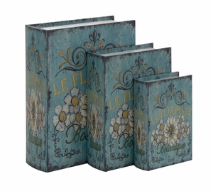 The Rustic Blue Set of 3 Wood Canvas Book Box by Woodland Import