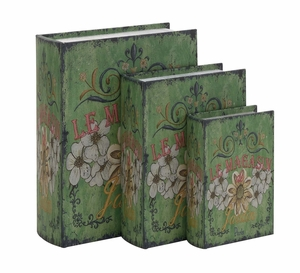 The Rustic Green Set Of 3 Wood Canvas Book Box by Woodland Import