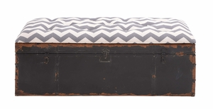 The Rustic Metal Fabric Strong Bench by Woodland Import