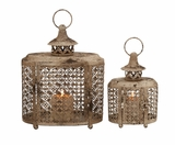 The Rustic Set Of 2 Metal Candle Lantern Brand Benzara