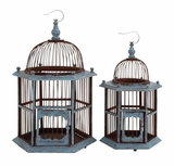 The Rustic Set of 2 Wood Birdcage by Woodland Import