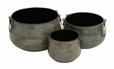 The Rustic Set of 3 Metal Planter by Woodland Import