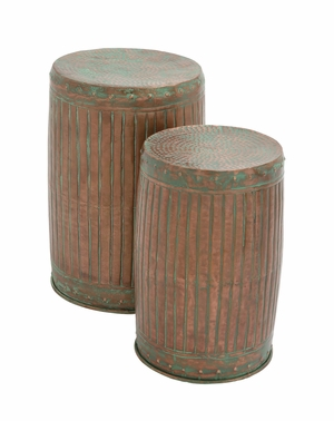 The Rustic Set of Metal Stool by Woodland Import