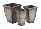 The Rusty Set of 3 Metal Planter by Woodland Import