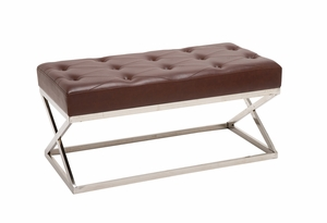 The Sexy S/Steel Faux Leather Bench by Woodland Import