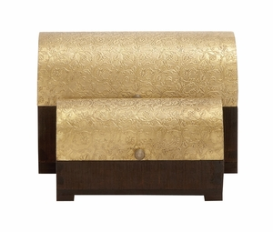 The Shimmering Set of 2 Wood Brass Foil Box by Woodland Import