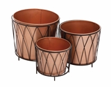 The Shiny Set of 3 Metal Planter by Woodland Import