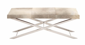 The Simple and Stylish Stainless Steel Grey Leather Bench - 41205 by Benzara