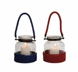 The Simple Glass Rope Lantern 2 Assorted by Woodland Import