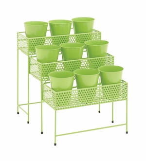 The Simple Metal 3 Tier Plant Stand Green by Woodland Import