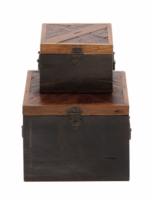 The Simple Set of 2 Wood Box by Woodland Import