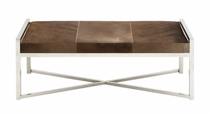 The Simple Stainless Steel Brown Leather Bench by Woodland Import