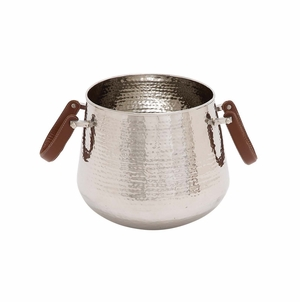 The Simple Stainless Steel Leather Wine Cooler by Woodland Import