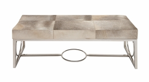 The Simple Stainless Steel Real Leather Bench by Woodland Import