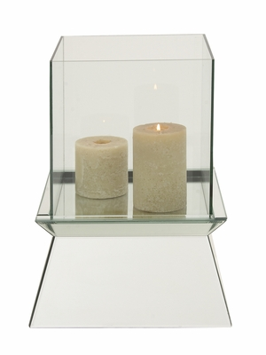The Simply Wood Glass Mirror Candle Holder by Woodland Import
