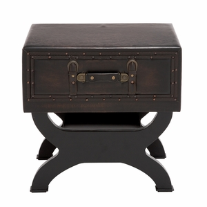 The Sleek Wood Leather End Table by Woodland Import