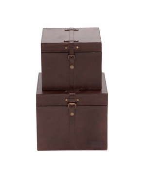 The Smooth Set of 2 Wood Real Leather Box by Woodland Import