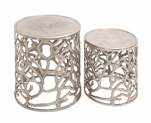 The Sparkling Set of 2 Aluminum Stool by Woodland Import
