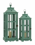 The Spiritual Set of 2 Wood Glass Lantern by Woodland Import