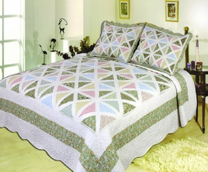 The Spring Breeze handmade throw with pastel coloured patchwork queen size Brand Elegant Decor